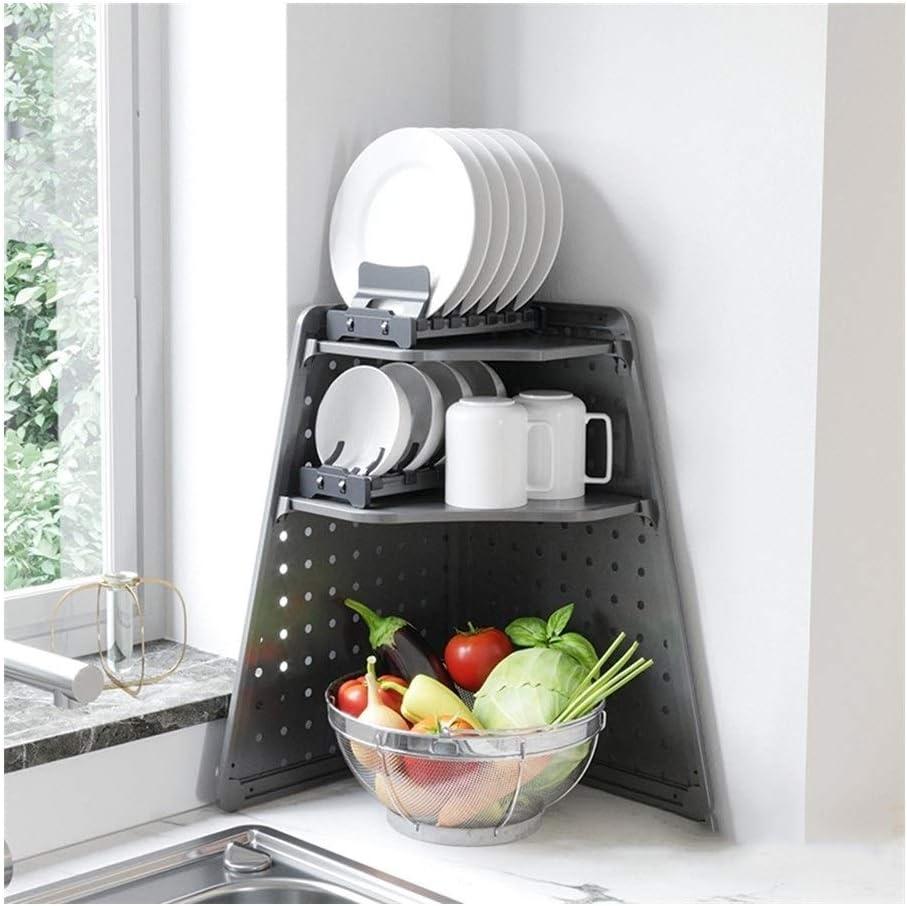 ALGWXQ キッチンシンク食器洗い機多機能大容量に皿ラック調味料ラックをラック用具、ブラック (Color : ブラック, Size : A)