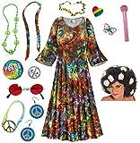 Paisley Hippie Dress Plus Size Halloween Costume Curly Wig Kit 5x