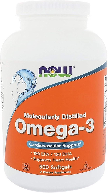 Omega-3 Fish Oil Concentrate Fatty Acids Vitamin E D В Bone Heart Health Cardiovascular Support 180 EPA/120 DHA 500 Softgels
