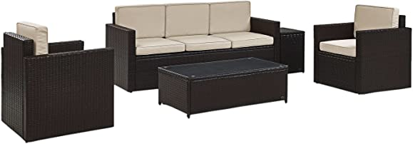Crosley Furniture KO70054BR-SA Palm Harbor Outdoor Wicker 5-Piece Seating Set Sofa