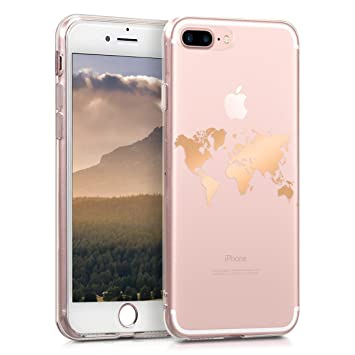 kwmobile Funda para Apple iPhone 7 Plus / 8 Plus - Carcasa Protectora de TPU con diseño de Mapa del Mundo en Oro Rosa/Transparente