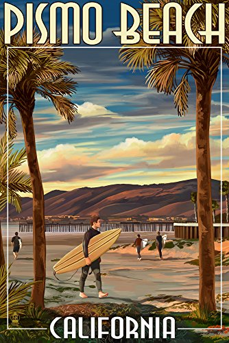 Pismo Beach, California - Surfer and Pier (12x18 Art Print, Wall Decor Travel Poster)