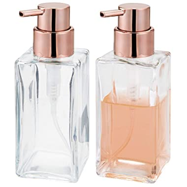 mDesign Square Glass Refillable Liquid Soap Dispenser Pump Bottle for Bathroom Vanity Countertop, Kitchen Sink - Holds Hand Soap, Dish Soap, Hand Sanitizer, Essential Oils - 2 Pack - Clear/Rose Gold