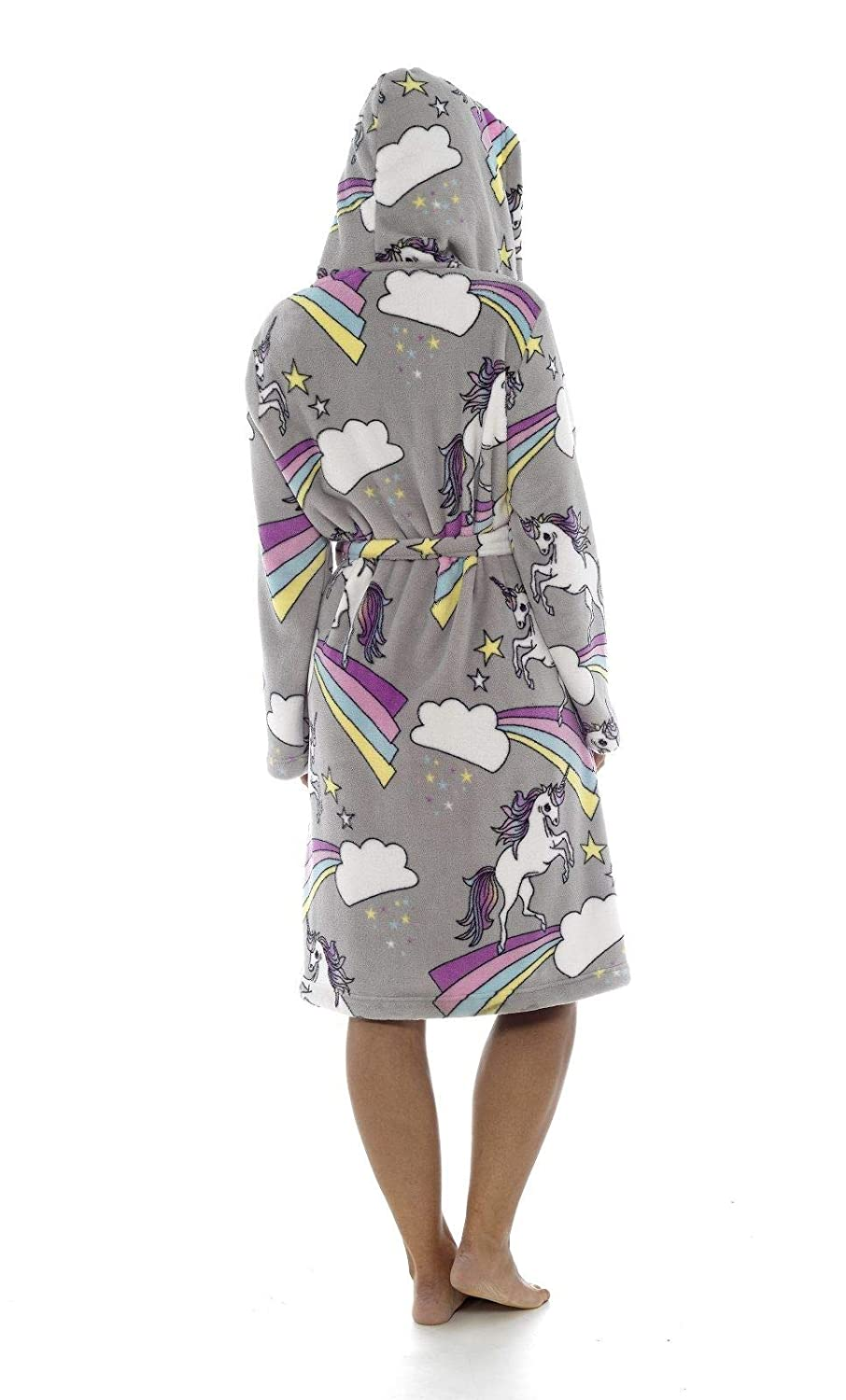 Ladies Girls Mum//Daughter Matching Unicorn Grey Dressing Gown Mother//Daughter Matching Mini Me Supersoft Fleece