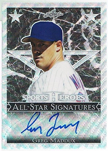 Greg Maddux Autographed Baseball - 2017 Leaf GREG MADDUX Metal Sports Heroes All Star Prismatic Autograph #d 10/10 - MLB Autographed Baseball Cards