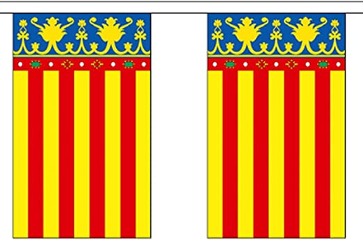 España Valencia Poliéster Bandera Banderín 9m (30) Banderines Con 30 Banderas: Amazon.es: Hogar