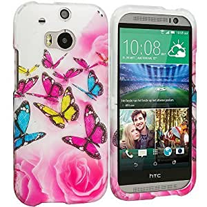 Accessory Planet(TM) Pink Colorful Butterfly 2D Hard Snap-On Design Rubberized Case Cover Accessory for HTC One M8