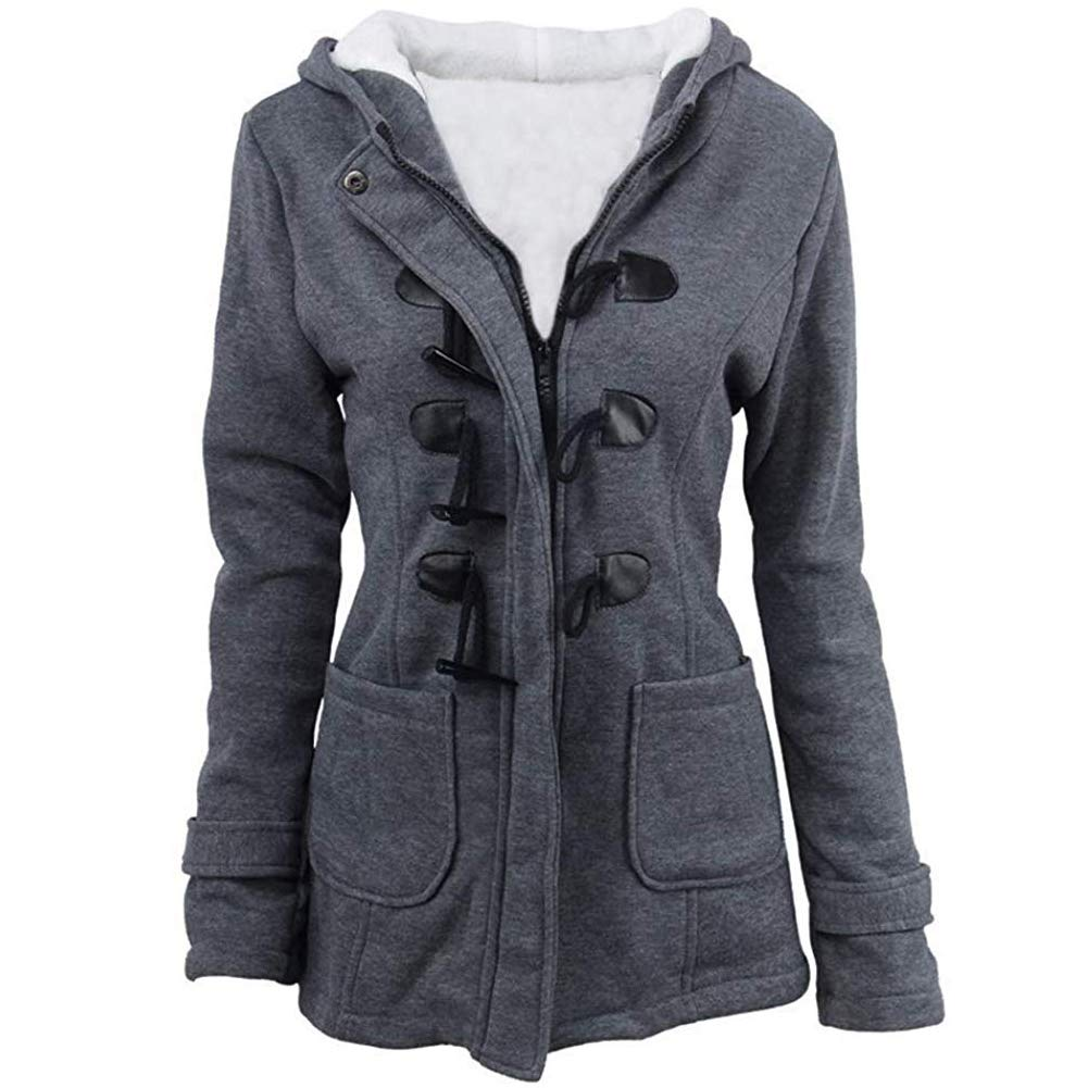Womens Pea Coats Winter Outdoor Warm Wool Blended Classic Hoodies Jackets Casual Zip Up Button Long Outwears