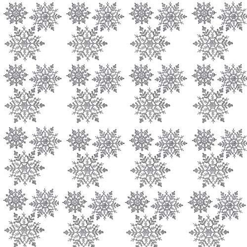 BANBERRY DESIGNS Silver Glitter Snowflakes - 36 Assorted Sized Snowflake Ornaments - 12 Each of 4