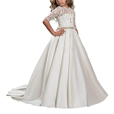 Carat Beautiful White Lace Princess Ball Gown Hollow Back Flower Girl Dress Ivory Size 2