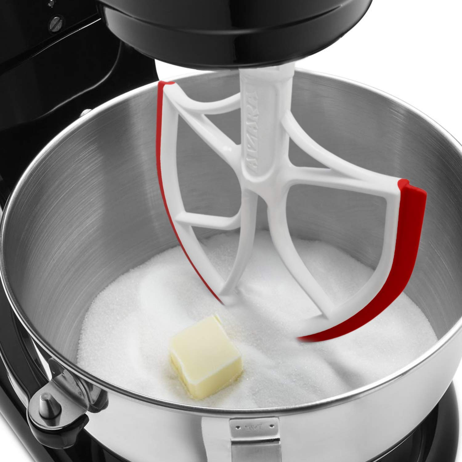 Flex Edge Beater for KitchenAid Bowl-Lift Stand Mixer Attachment 6 Quart - Coated Flat Beater Blade with Silicone Edges - Useful Mixer Accessory(Red)