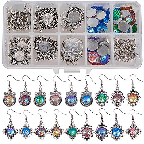 SUNNYCLUE 1 Box DIY 12pairs Mermaid Scales Skin Dangle Earrings Making Starter Kit Include 6 Color 36pcs Round Mermaid Scales Skin Resin Cabochons 12mm, 3 Style 36pcs Pendant Cabochon Bezel Settings
