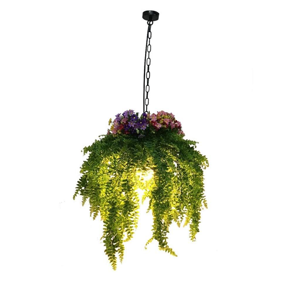 雪丽的家居 牧歌的なクルミのシャンデリアのシミュレーションの植物の据え付け品の産業風の鉄の天井灯のボタンのペンダントライト   B07TP39HF9