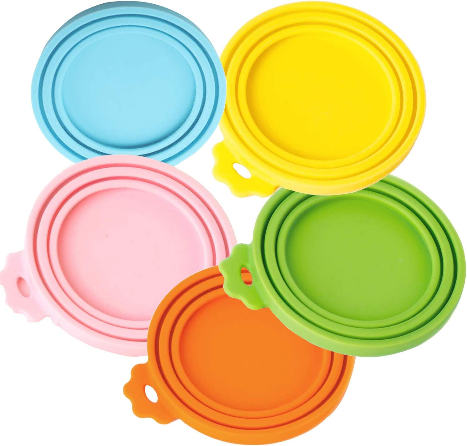 WeTest Pet Can Lids - Universal Cat or Dog Food Can Cover Made by Food Grade Silicone, 5 packs Fits Most Standard Size Can