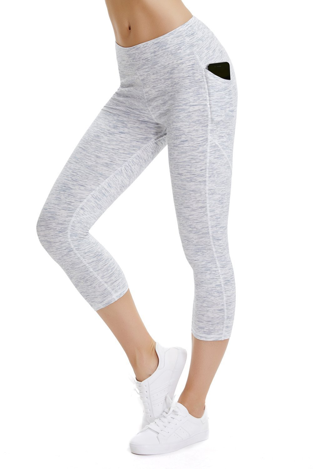 THE GYM PEOPLE Compression Yoga Capri Legings for Women, Heart Shape Workout Pants with Pocket Super Power Flex Fabric (Medium, 13/White)