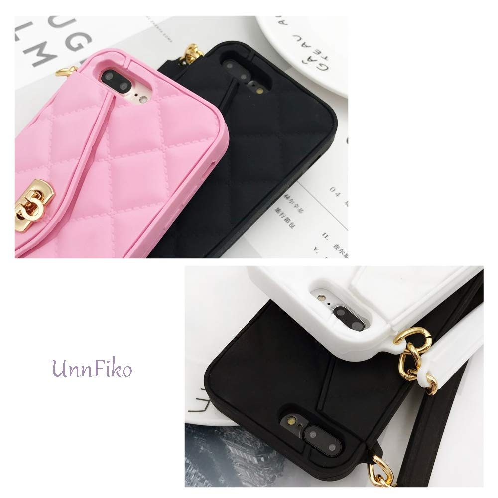 Pretty Luxury Bag Design Black, iPhone 6 // 6s UnnFiko Wallet Case Compatible/with iPhone 6 // iPhone 6s Purse Flip Card Pouch Cover Soft Silicone Case with Hand Holder Long Shoulder Strap