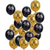 Balloonistics 50th Birthday Anniversary Party Decoration Latex Balloon, Number 50 (Gold and Black)