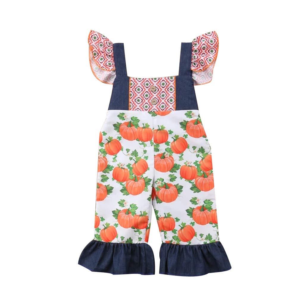 Shusuen Baby Girl Dress Little Girls Denim Halloween Print Sleeveless Skirt Dresses One-Piece by Shusuen_Clothes