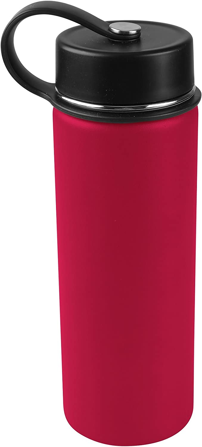 Tahoe Trails 20 oz Double Wall Vacuum Insulated Stainless Steel Water Bottle,Chinese Red