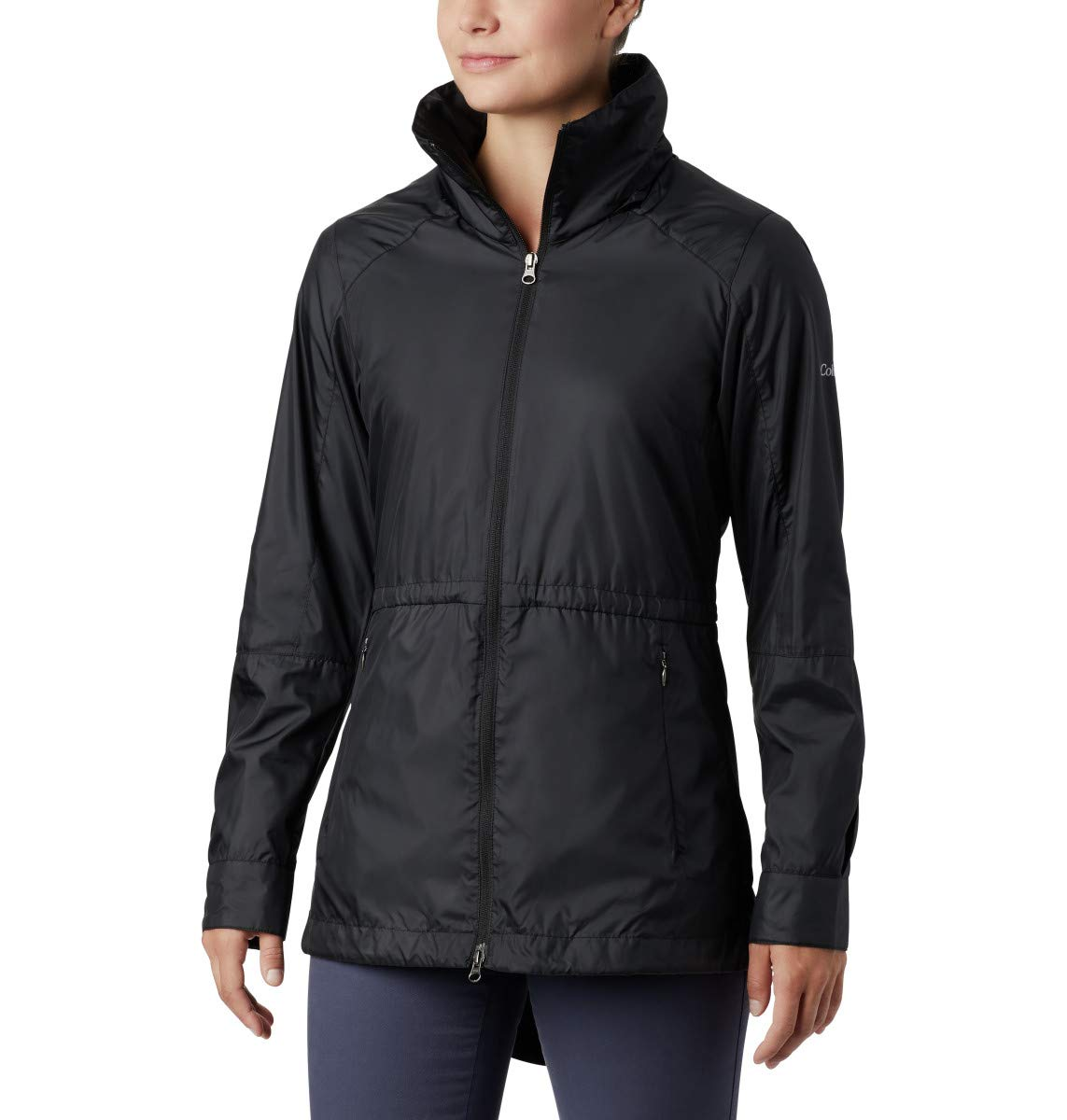 Columbia Women's Sustina Springs Long Lined Windbreaker, Black, Small by Columbia