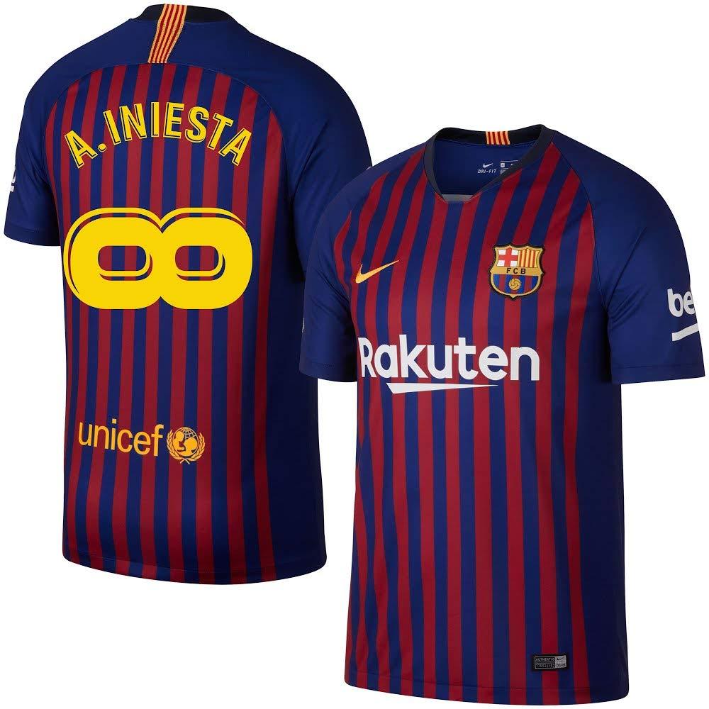 70da9b3893e48 Amazon.com : Nike Barcelona Home A. Iniesta Infinity Jersey 2018/2019 (Fan  Style Printing) : Sports & Outdoors