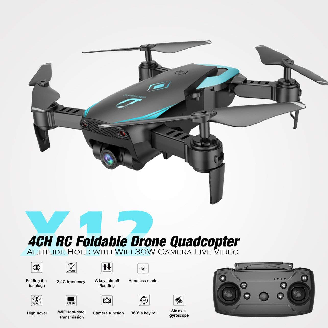 WOSOSYEYO X12 4CH RC Plegable Drone Quadcopter Altitude Hold con ...
