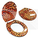 Novelty Toilet Seats EcoSpa a?? MDF Pattern Print Novelty Themed Toilet Seat with Chrome Metal Bottom Fixing Hinges (Leopard) by EcoSpa