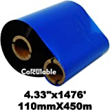 """Calculable 4.33""""x1476' (110mmx450m) Thermal Transfer Ribbon INK OUTSIDE Barcode Ribbons for Label, Tag, Barcode Printing Resin Enhanced Wax Ribbon for Zebra Tec Datamax Intermec CITIZEN Printer"""