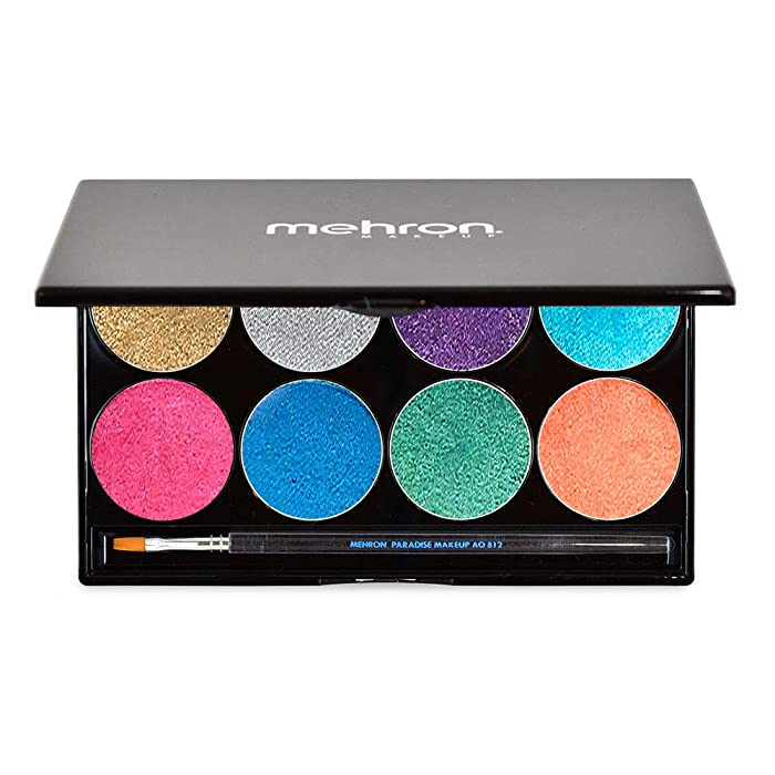 Mehron Makeup Paradise AQ Face & Body Paint 8 Color Palette (Brillant)