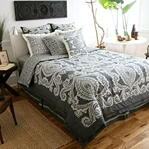 Amy Butler Bucharest Constanta Comforter, Smart Bed Skirt, and Sham Set Black/Gray Full/Queen