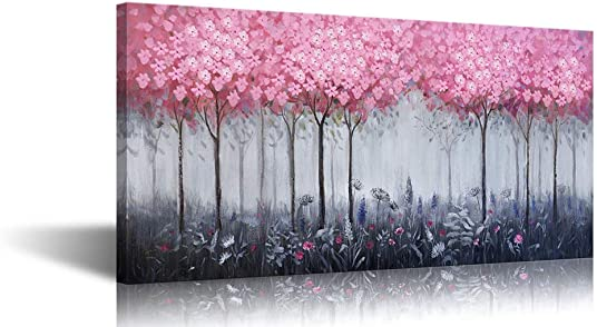 Large Abstract Canvas Wall Art Pink Flower Grey Trees Forest Prints Painting Big Framed Artwork