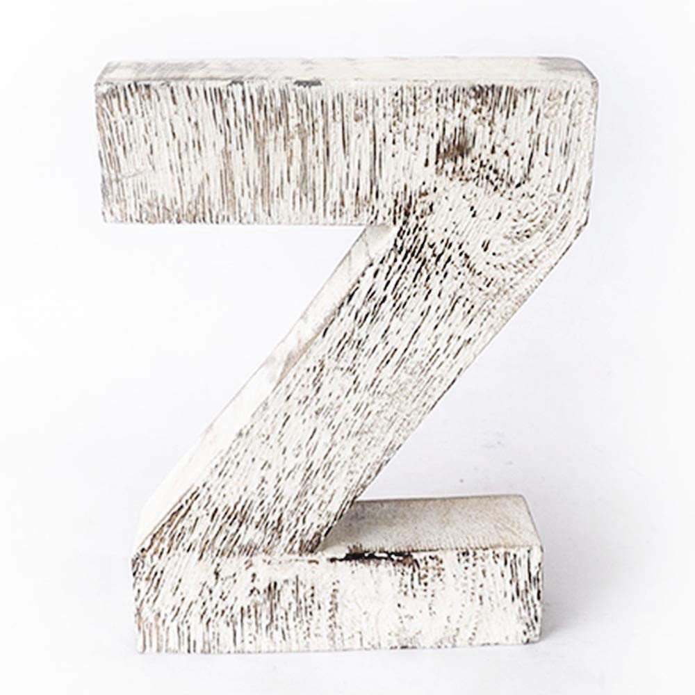 Kaizen Casa Vintage, Rustic Mango Wood Alphabet Letter Z, Wall Decor, Wall Sculptures, Home, Office, Party Décor.