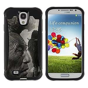 All-Round híbrido Heavy Duty de goma duro caso cubierta protectora Accesorio Generación-II BY RAYDREAMMM - Samsung Galaxy S4 I9500 - Native American Indian Man Art Nature Hair