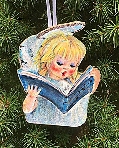 Singing Angel Ornament Handcrafted Wooden Christmas Decoration,Daughter Granddaughter Gift, Halo Angel Pageant Sunday School Grab Bag Music