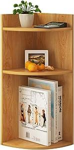 liushop Bookcase Wooden Bookshelf Three-Story Corner Bookshelf Simple Multi-Function Home Storage Rack Standing Bookshelf (Color : Natural B)