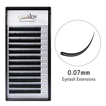 6d177deb6b4 Amazon.com : LASHVIEW 0.07 Thickness C curl 8mm Silk Mink Eyelash Extension  Premium Volume Lashing Handmade Soft False Eyelashes Building Individual  Lash ...