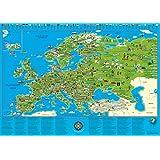 Illustrierte Europakarte für Kinder und Erwachsene: Planokarte in Hülse, Mehrfarbendruck, figürliche Glanzlackierung
