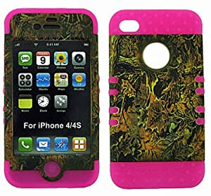 BUMPER CASE FOR IPHONE 4 SOFT HOT PINK SKIN HARD FOREST CAMO BROWN LEAVES COVER