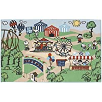 Peanuts And Friends Themed Area Rug, Featuring Ferris Wheel Trees Balloon Pattern, Rectangle Indoor Living Room Doorway Hallway Kids Bedroom Carpet, Lawn Nature Park Themed, Green, Red, Size 33 x 53