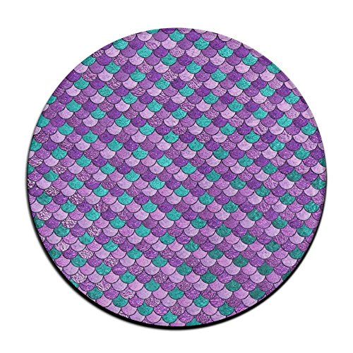 ART TANG Purple Mermaid Fish Scales Art Area Rug Easy-Clean Carpet Non-slip Round Floor Mat Kids Room Carpets (16 Inch (Sassafras Kids Fish)