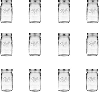 product image for Ball Wide Mouth Clear Glass Canning Quart 32 Oz Mason Jars with Lids, 12 Pack