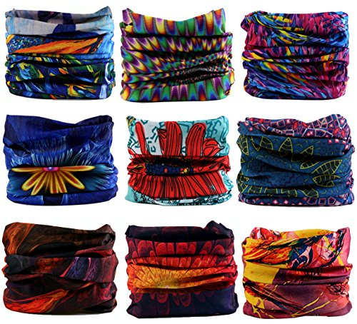 Kingree 9PCS Headwear, Womens and Mens Headband, Guys Sweatband & Sports Head Tie for ATV/UTV riding, Outdoor Magic Scarf, Bandanna Headwrap, (Spirit of (Athletic Bandana)