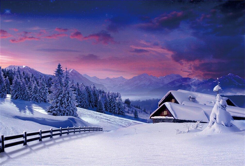 YongFoto 3x2m Foto Hintergrund Winterlandschaft Schnee: Amazon.de ...