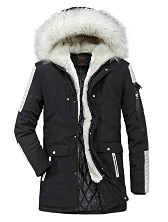 Pandapang Mens Trendy Faux Fur Hood Thick Camouflage Mid-Length Parkas Jacket