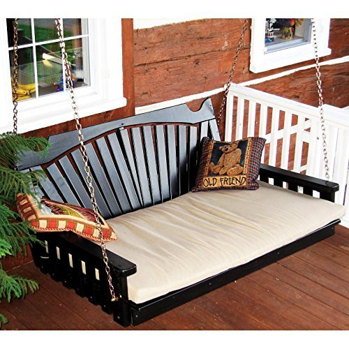 Outdoor Pine Bed - A & L Furniture Yellow Pine Fan Back Swing Bed, Null, Unfinished