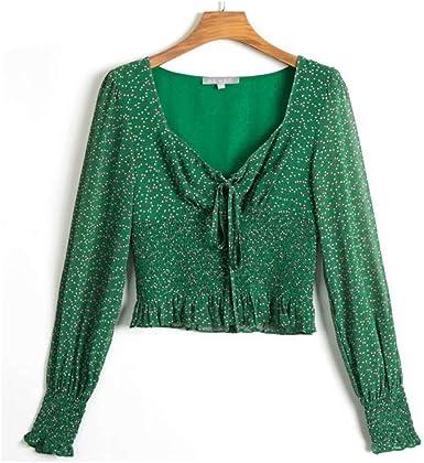 NOBRAND Blusas y Blusas con Estampado Verde Mujer Blusa Cruzada Femenina Camisa de Peplum de Moda Blusa de Vacaciones con Cuello Cuadrado Vintage: Amazon.es: Ropa y accesorios