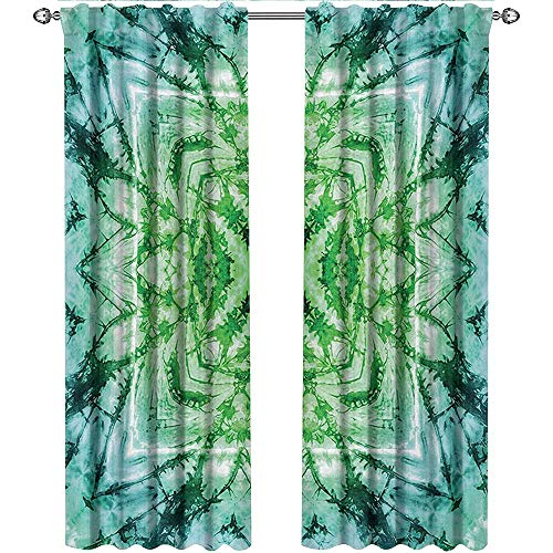Psychedelic, Curtains Thermal Insulated, Abstract Square Shaped Kaleidoscope with Murky Psychedelic Expansions Pattern, Curtains for Living Room, W96 x L108 Inch, Green Teal