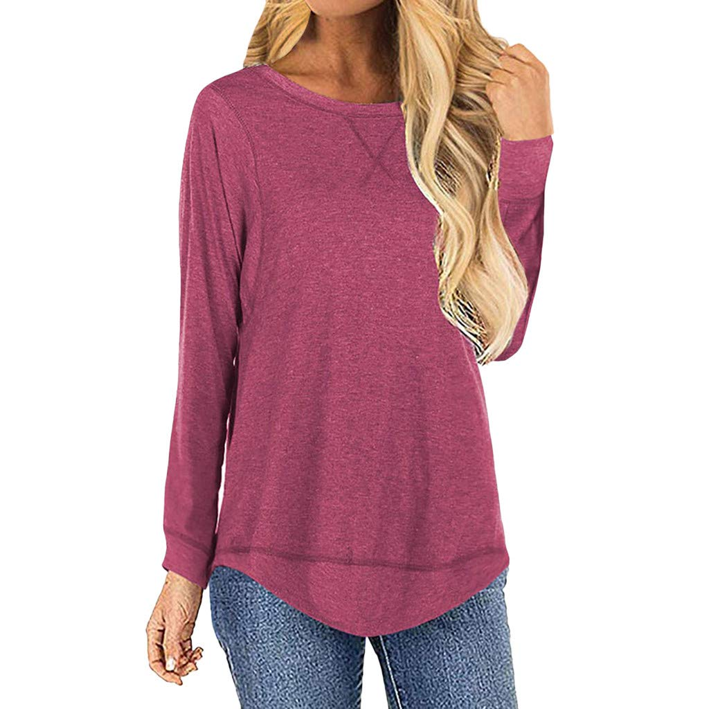 IEason Women Blouse Summer for Women Round Neck Long Sleeve Side Split Casual Loose Tunic Pullover Hot Pink