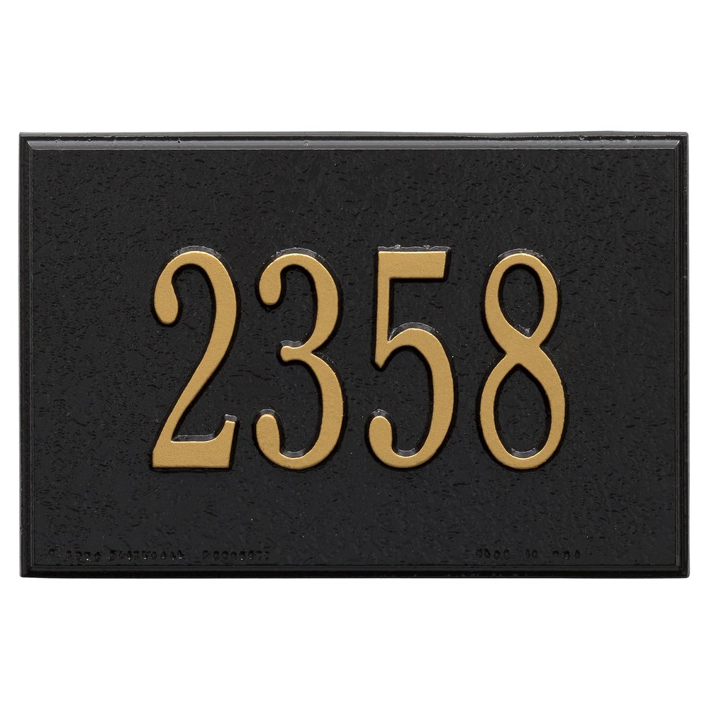Whitehall Products 1426BG Wall Mailbox Plaque with One Line, Black