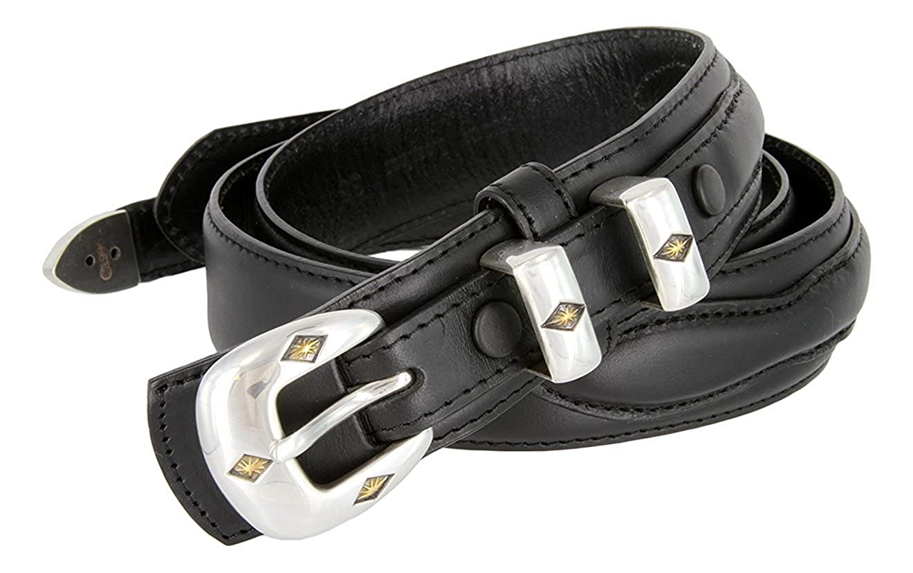 Pele Belt Men 1-3//8 Wide Leather Stitched Edges Gold Inlay Silver Buckle